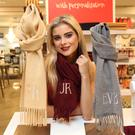 Jess Redden was at the launch of the new Gifted space in Arnotts and modelled Ali Delaney's Custom Vintage Dublin personalised scarves