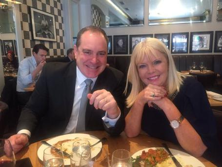 Alan Cantwell and Mary Mitchell O'Connor enjoy a 'last supper' Photo: Twitter
