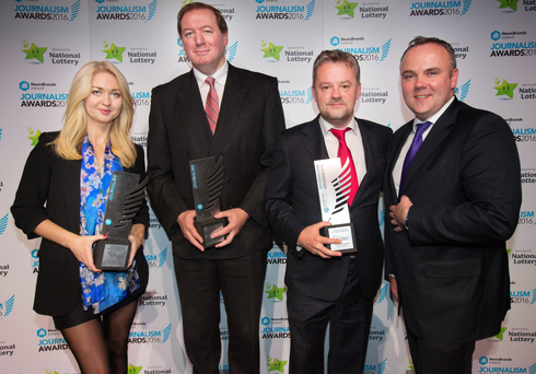 Winning team: Niamh Horan, winner of political story of the year; Neil Francis, sports writer of the year; Jody Corcoran, political journalist of the year; and Sunday Independent editor Cormac Bourke Photo: Tony Gavin