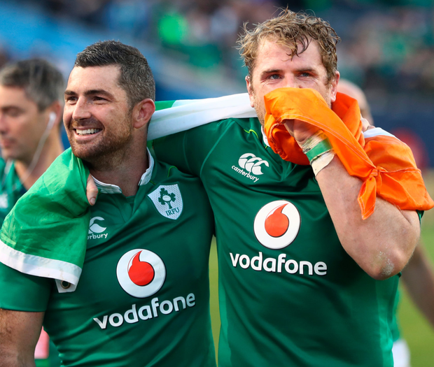 Rob Kearney and Jamie Heaslip with the flag Photo: Getty