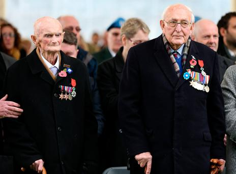 James Moore and Albert Sutton who were awarded the Legion d'Honneur at the Dedication of a Clinchy Cross ceremony in Glasnevin Cemetery. Photo: Gerry Mooney