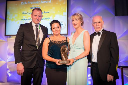 From left: ISIA President Alan Durnan, 'Sunday World' Investigations Editor Nicola Tallant, INM Head of News Jane Last and John O'Donoghue, Managing Director of Noonan, at the awards ceremony. Photo: David Cantwell