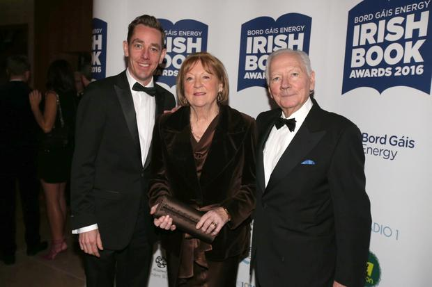 At the Bord Gáis Energy Irish Book Awards were Kathleen Watkins with husband Gay Byrne and Ryan Tubridy. Photo: Mark Condren