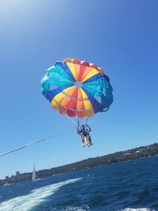 The couple parasailing before the incident occurred