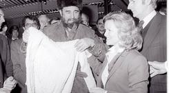 STOPOVER: Fidel with Barbara Kennedy at Shannon in 1982