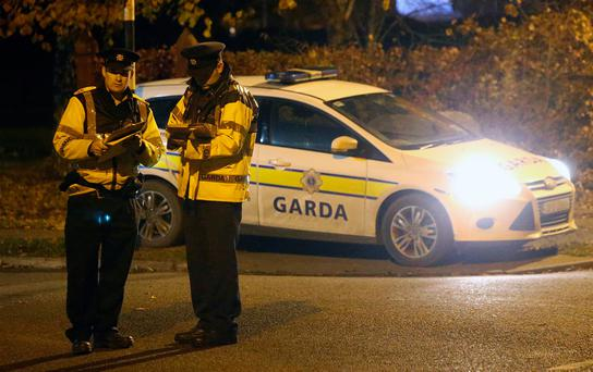 A local Garda at a checkpoint near the entrance to Moyglare Abbey Estate in Maynooth where Kym Owens was assaulted. Photo: Damien Eagers