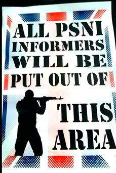 Undated handout photo issued by Alliance Party of flyers, featuring a gunman and the union flag, stating: