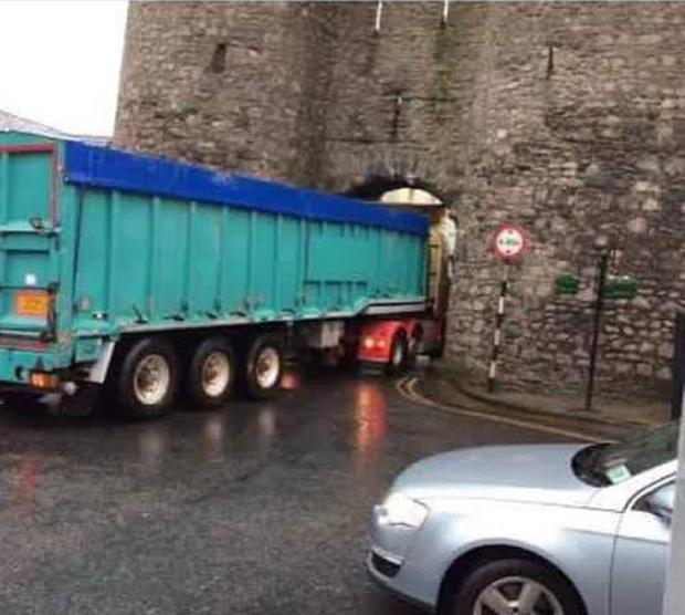 At least two or three trucks get stuck at the gate on a daily basis