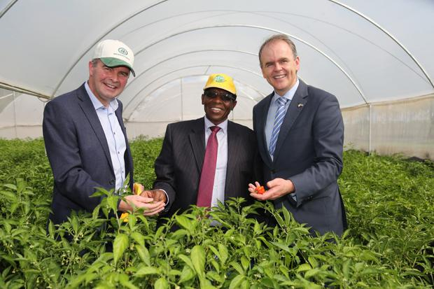 Kenyan food entrepreneur Richard Rugendo pictured with (centre) Overseas Development Minister Joe McHugh and Irish potato expert Derek Ralston from Donegal seed potato company IPM.