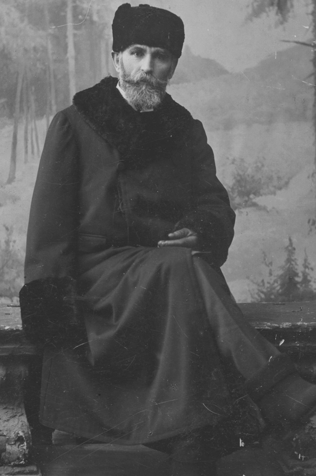 Davitt in a fur coat in a studio photo taken in Russia some time during 1905. Photo: courtesy Board of Trinity College, Dublin