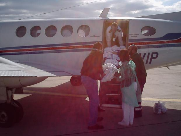 David being brought on the private jet from Spain to the UK