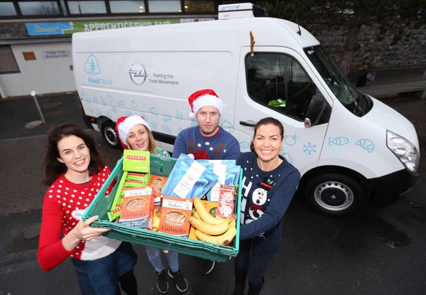 Award winning Social Enterprise FoodCloud and their transport partners Opel Ireland, revealed plans to deliver the equivalent of 44,970 meals of surplus food to charities most in need this Christmas. Pictured at the announcement outside The Finglas Youth Resource Centre in Dublin were (LtoR) Aoibheann O'Brien Co Founder Food Cloud and Gillian Whittall, Head of Marketing and PR Opel Ireland with Finglas Youth Resource Centre workers Bernie Harrington and Daniel Kearney. Photo: Sasko Lazarov/Photocall Ireland