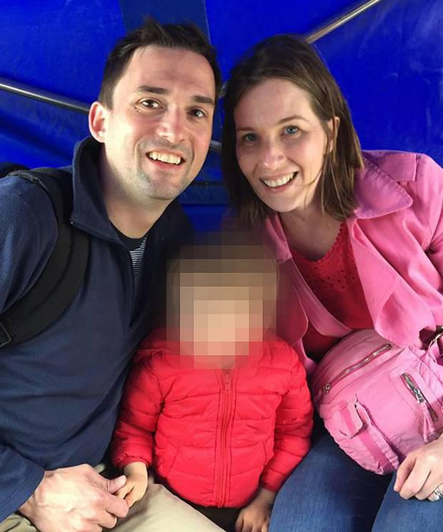 Missing schoolteacher Catherine Johnston with her husband Tim and James