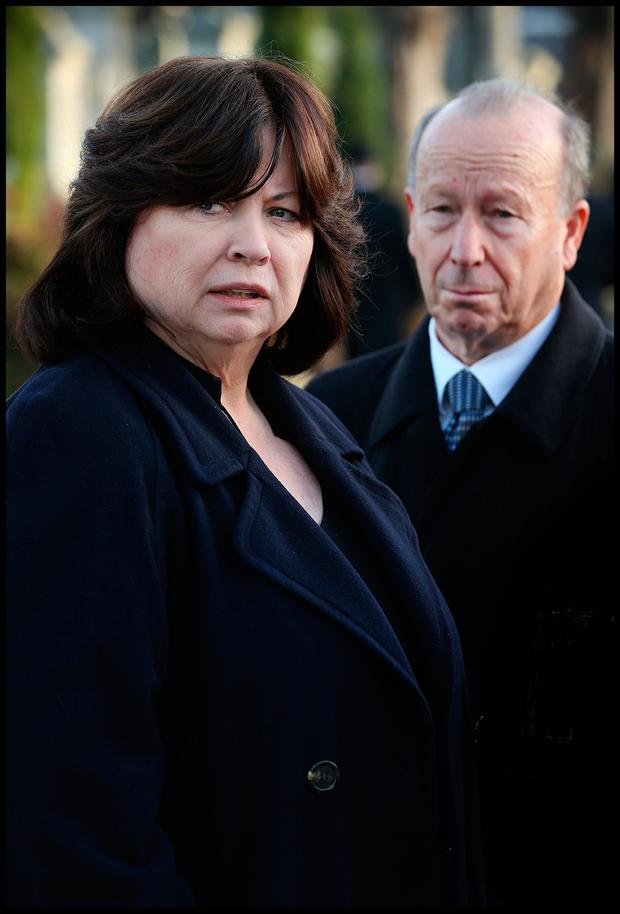 Mary Harney and husband Brian Geoghegan at the Victorian Chapel in Mount Jerome Crematorium in Harold's Cross for the celebration of Gillian Bowler's life. Photo: Steve Humphreys