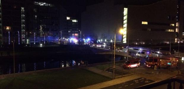 Dublin Fire Brigade rescued a 30-year-old man from the water at the IFSC Photo: DFB