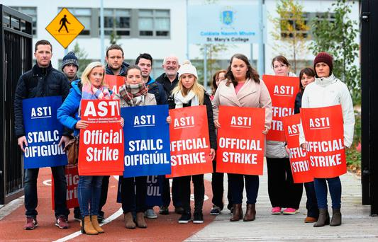 Members of ASTI outside St Mary's College, Dundalk in October