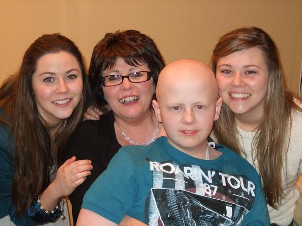 Conor with mum Margaret and sisters Emma and Rachel