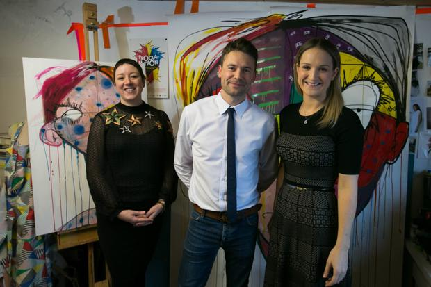 Artist Emma Sheridan, Helen McEntee, Minister of State for Mental Health and Older People, and First Fortnight co-founder David Keegan.