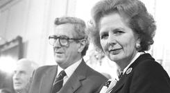 Garret FitzGerald and Margaret Thatcher at the signing of the Anglo-Irish Agreement at Hillsborough Castle in 1985