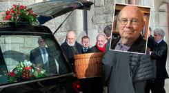 Mourners carry the coffin at the funeral Anthony Cronin at the Church of The Sacred Heart, Donnybrook. Inset: Anthony Cronin Photo: Tony Gavin