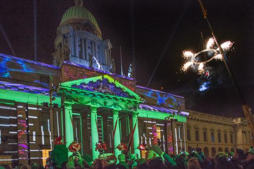 Pyrotechnics during a display at the Custom House, Dublin Photo: Tony Gavin