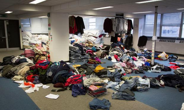 Donated clothes, bedding and toiletries stored in the donations room. Photos: Colin O'Riordan