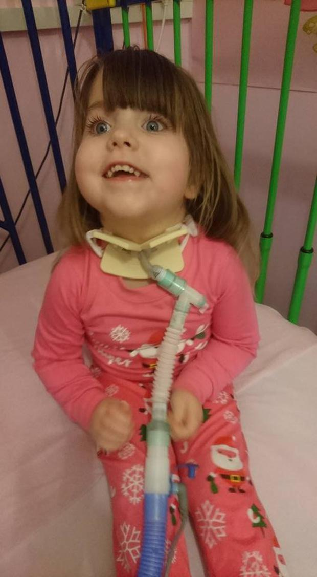 Three-year-old Kate is now confined to her cot after taking a
