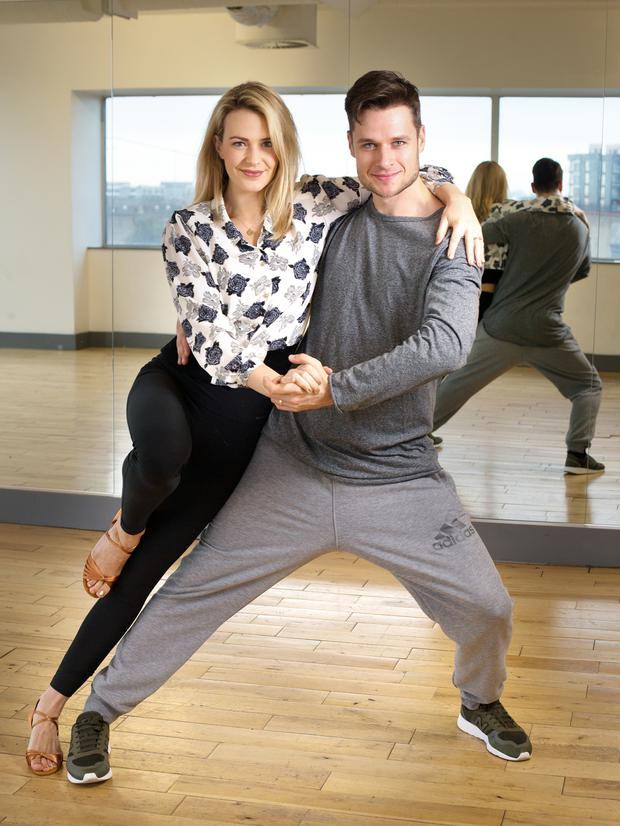 Aoibhin Garrihy who is appearing in Dancing with the Stars rehearses in The Liffey Trust dance Studio with her dance partner Vitali Kozmin. Photo: Tony Gavin 4/1/2017