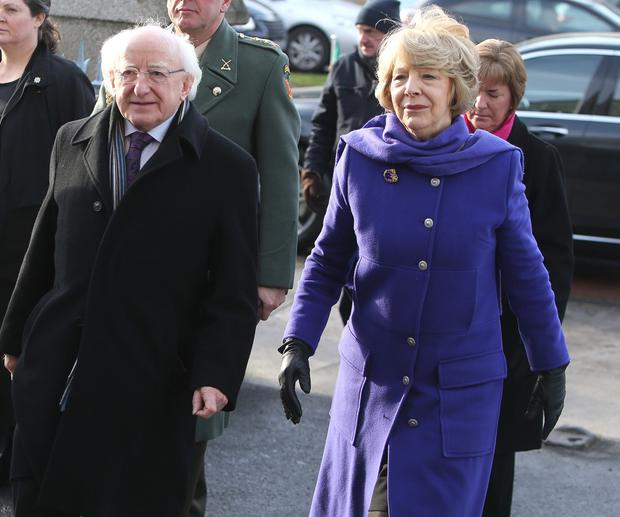 President Michael D Higgins and his wife Sabina arrive at the Church of the Sacred Heart. Photo: Damien Eagers