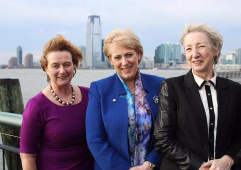 The minister is pictured at Pier 1 with Consul General Barbara Jones and Patricia Harty from 'Irish America Magazine'