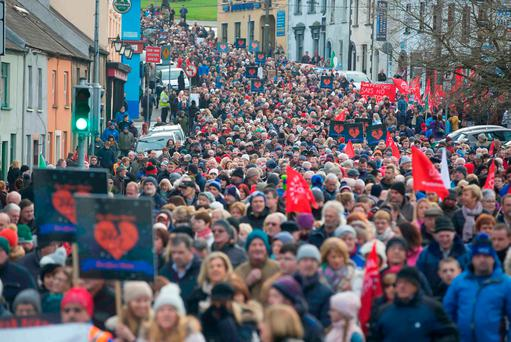 Protest march against downgrading of Waterford University Hospital. Photo: Patrick Browne