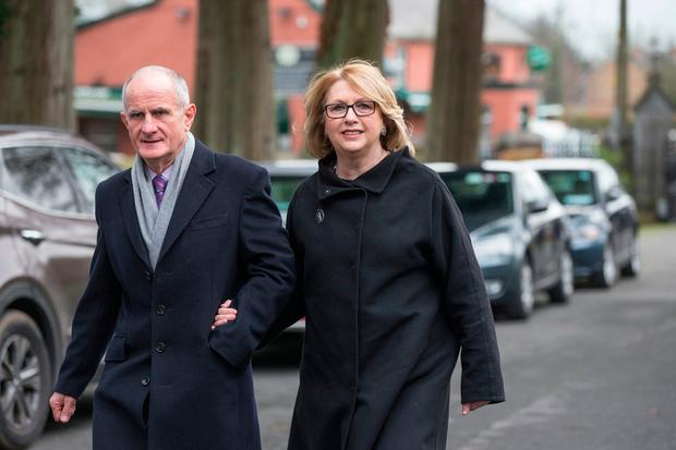 Former President Mary McAleese and her husband Martin at the funeral mass of former secretary general at the Department of Foreign Affairs Dermot Gallagher in the Holy Trinity Church Ratoath. Photo: Mark Condren