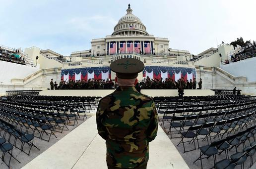 The United States Marine Corps Band practices in front of the podium where US President-elect Donald Trump will take the oath of office in Washington Picture: Getty