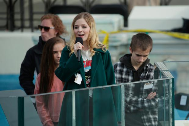 Jackie Evancho rehearses singing the Star Spangled Banner Picture: Getty