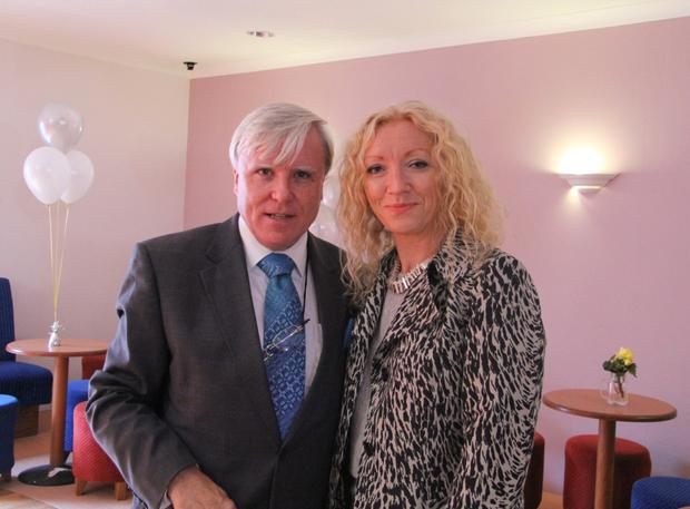 Mayor of Sligo Municipal District Cllr Marie Casserly and Francis Brennan during the filming of At Your Service in Mullaghmore, Co. Sligo. Photo: Matt Britton.