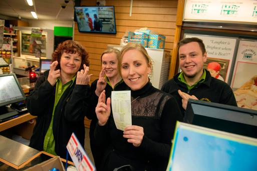 Fitzpatrick's Shop, Glounthane, Co Cork where a winning lottery ticket may have been sold. Manager Laura Wilson with staff Kerri O'Neill, Sylvia Mullen and Isaac Horgan Photo: Michael Mac Sweeney/Provision