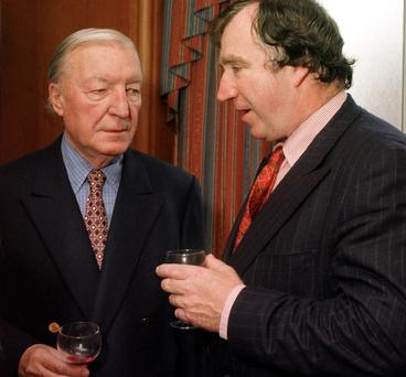 HIGH VALUE ESTATE: Edward Haughey pictured right in 1996 with his namesake (but no relation), Charles Haughey
