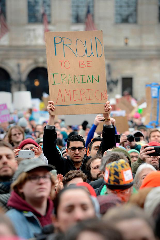 Crowds gather in Copley Square, Boston, Massachusetts, to protest against the immigration ban. Photo: Darren McCollester/Getty Images.