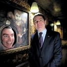 Paschal Donohoe with actor Gary Egan launching the Ghostbus in Dublin in 2014