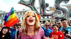 Panti Bliss celebrating the results of the referendum on same-sex marriage in 2015. Photo: Brian Lawless/PA Wire