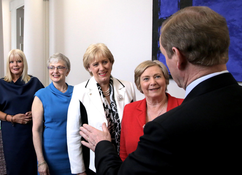 Enda Kenny with members of his Cabinet including ministers (from right) Frances Fitzgerald, Heather Humphreys, Katherine Zappone and Mary Mitchell O'Connor, at the start of the 32nd Dáil. The current crisis has thrown the stability of the minority Government into serious doubt