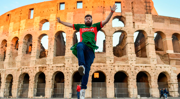 Thomas Maloney outside The Colosseum ahead of Ireland's Six Nations game against Italy in Rome Photo: Ramsey Cardy