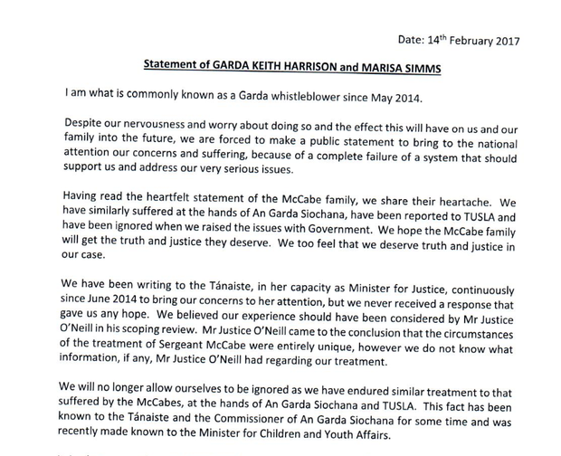 Garda whistleblower Keith Harrison issued a statement on Tuesday afternoon saying he shares Mr McCabe's