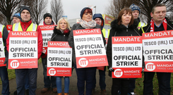 Tesco workers pictured on the picket line outside the Tesco Clearwater shopping centre Photo: Frank McGrath