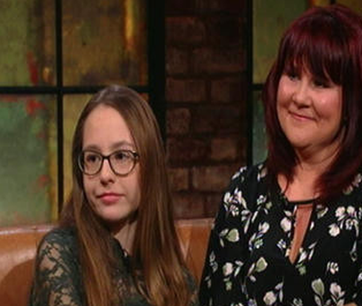 Megan (13) with her mother Sharon Halvey-Ryan on 'The Late Late Show' last night