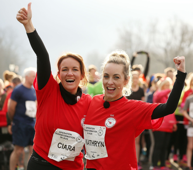 On your marks: Dr Ciara Kelly and Kathryn Thomas get set for the 5k run in Phoenix Park yesterday Photo: Gerry Mooney
