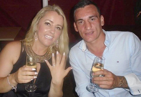 In custody: Tina Cahill from New Ross who has been charged with the murder of her boyfriend, Daithi Walsh, right