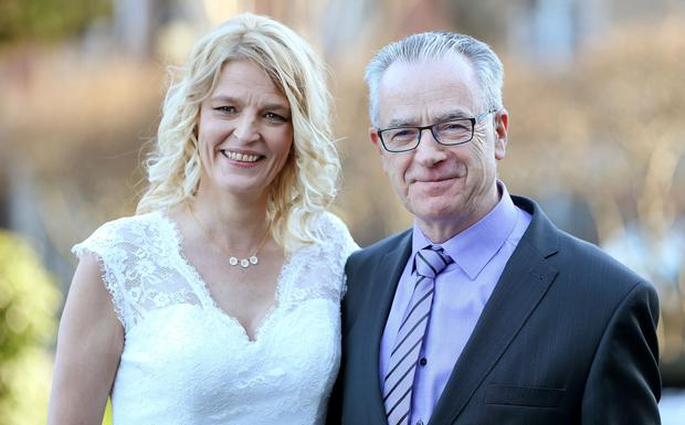 Former Fine Gael senator Eugene Regan and his new wife Janne Storgaard (left) at their wedding at Dublin's Intercontinental Hotel yesterday