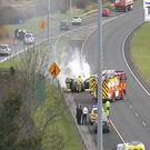Dublin Fire Brigade attend the scene on the M50 Southbound