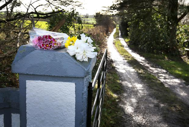 Flowers outside Paddy Lyons's house Photo: Frank McGrath